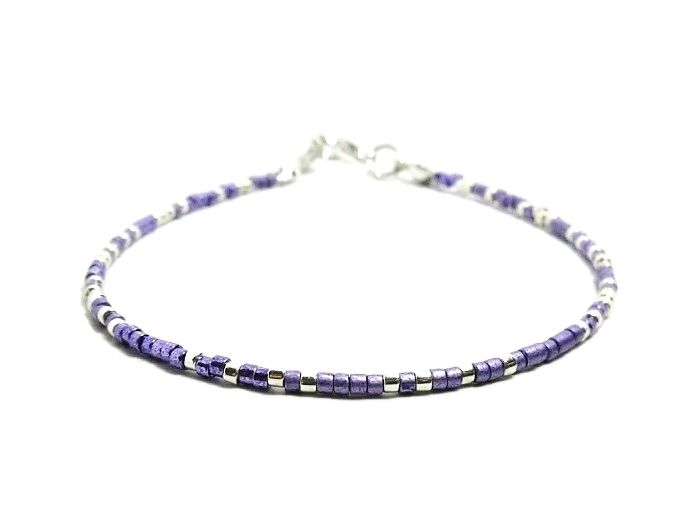 Slim Purple & Silver Seed Bead Friendship Bracelet