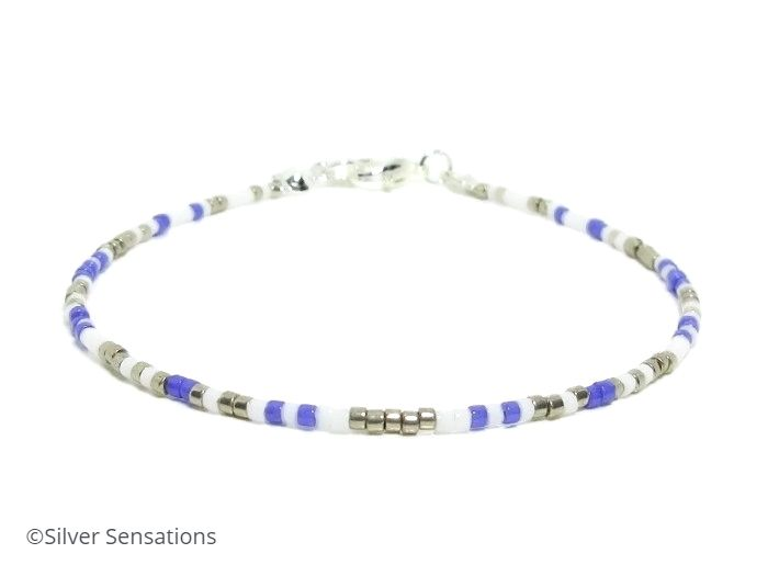 Slim Purple, White & Silver Seed Bead Friendship Bracelet