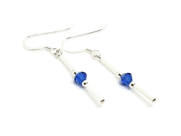 Slim Sterling Silver Tube Earrings With Sapphire Blue Swarovski Crystals