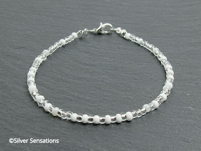 Slim White & Clear Skinny Stacking Seed Bead Friendship Bracelet