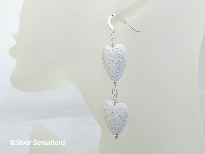 Snow White Volcano Lava Stone Double Hearts & Sterling Silver Long Drop Designer Earrings