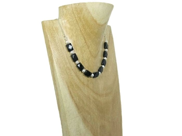 Sparkly Blue Goldstone Sterling Silver Chain Necklace With White Swarovski Pearls