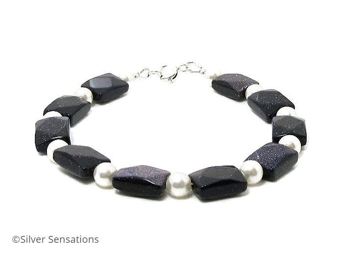 Sparkly Midnight Blue Goldstone & Swarovski Pearls Sterling Silver Bracelet