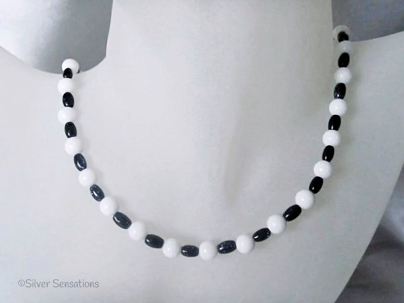 Sparkly Midnight Navy Blue Goldstone Beads & Snow White Agate Sterling Silver Necklace