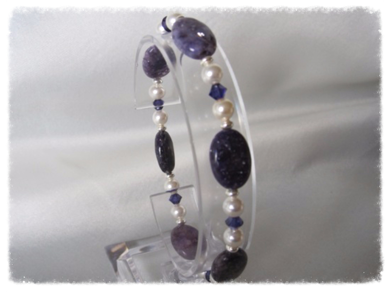 Sparkly Purple Lepidolite Jasper, White Swarovski Pearls & Crystals Bracelet With Sterling Silver