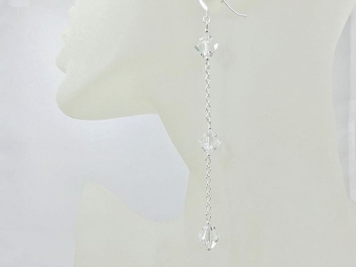 Sparkly Swarovski Crystals & Sterling Silver Long  Chain Earrings