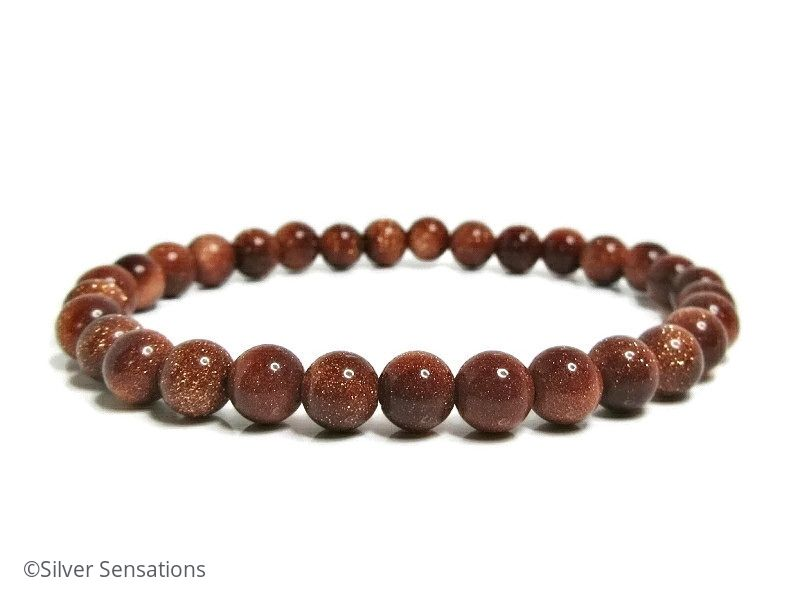 Sparkly Tan Brown Goldstone Sandstone Beaded Bracelet
