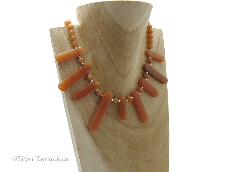 Spikey Orange Red Aventurine & Sterling Silver Chunky Necklace