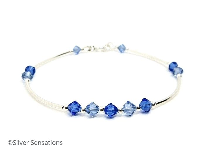 Sterling Silver Bracelet With Dark & Light Sapphire Swarovski Crystals