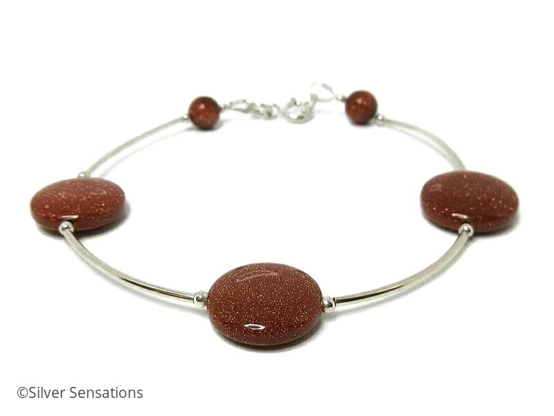 Sterling Silver Designer Bracelet With Sparkly Tan Brown Sandstone Coin Beads
