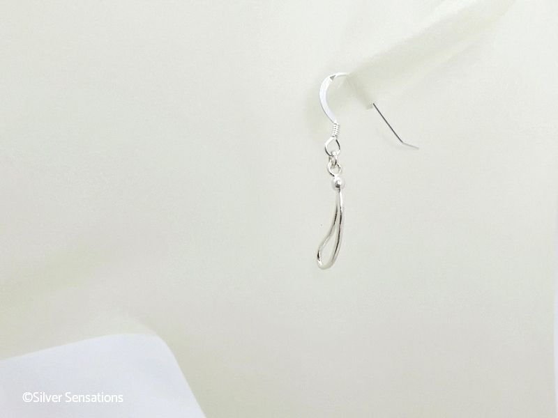 Sterling Silver Open Teardrop Dangle Drop Earrings
