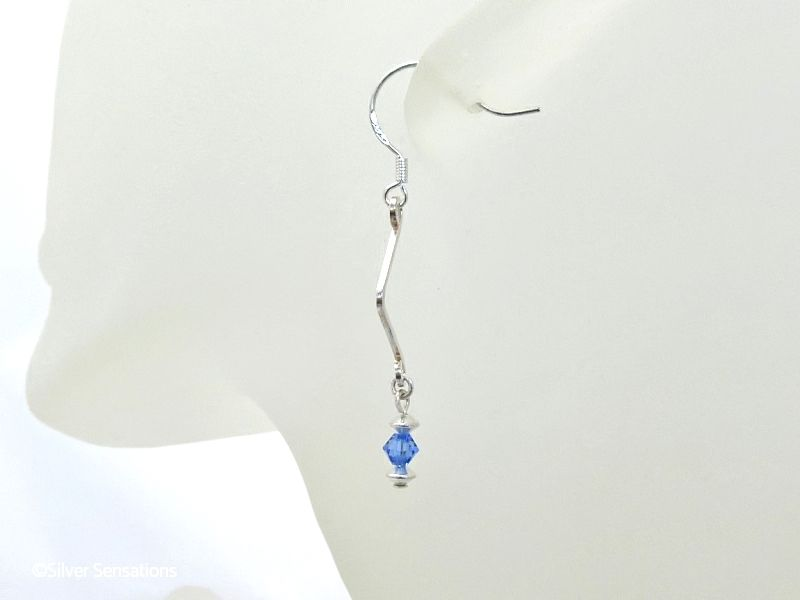 Sterling Silver Wave & Sparkly Blue Swarovski Crystals Drop Earrings