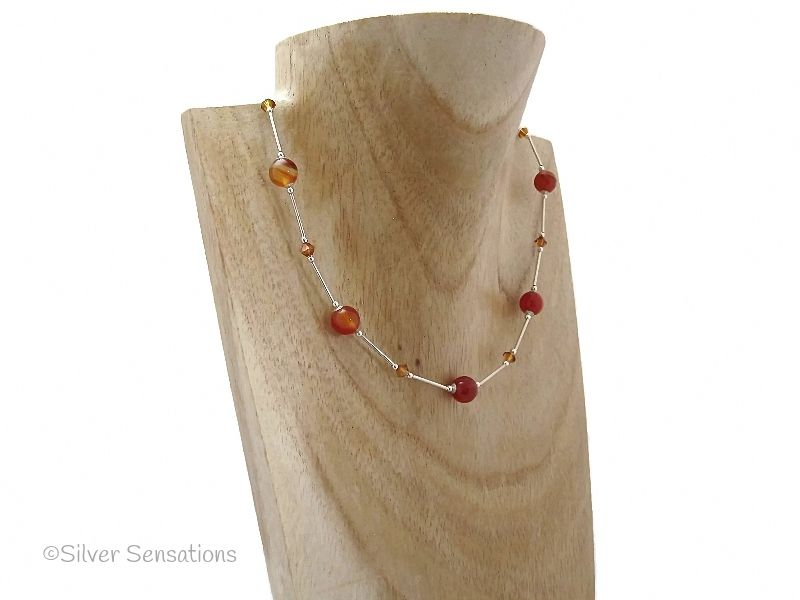 Stripey Orange Red Agate & Swarovski Crystals Sterling Silver Necklace