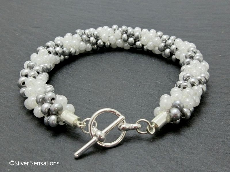 Stripey Pearly White & Pastel Grey Kumihimo Seed Bead Bracelet