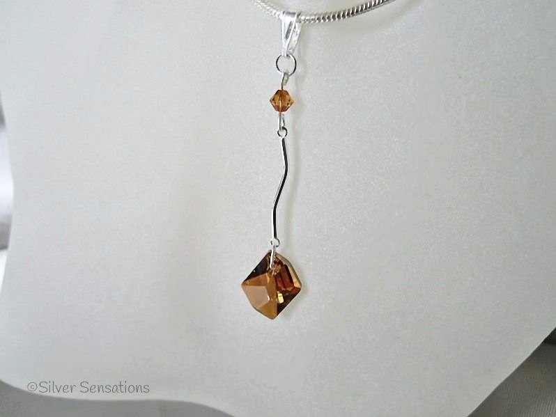 Swarovski Burnt Orange Copper Cosmic Crystal & Sterling Silver Bar Pendant