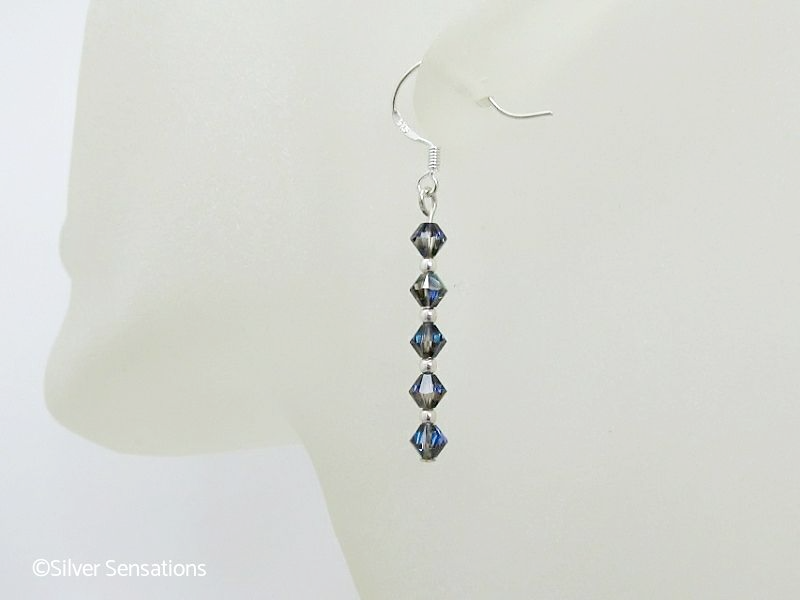 3dd11e489 Swarovski Heliotrope Sparkly Crystals & Sterling Silver Drop Earrings |  Silver Sensations