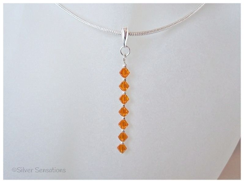 Swarovski Orange Crystals & Sterling Silver Pendant