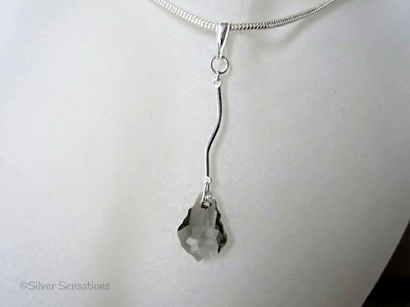 Swarovski Smokey Grey Baroque Crystal & Sterling Silver Curved Bar Pendant