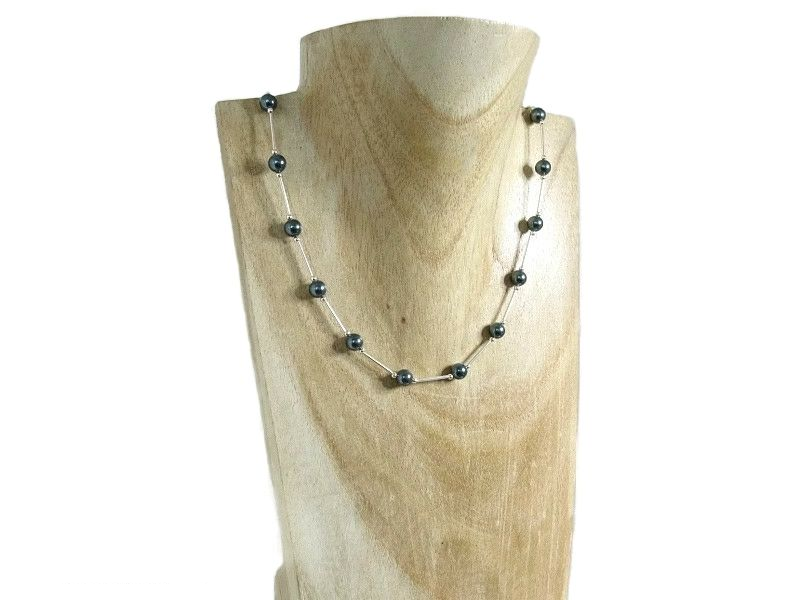 Swarovski Tahitian Grey Pearls & Sterling Silver Tubes Necklace