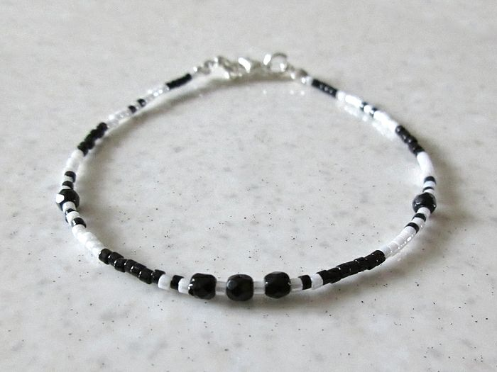Tiny Black & White Seed Bead Friendship Bracelet