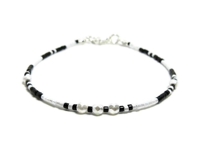 Tiny Black & White Seed Bead Stacker Bracelet