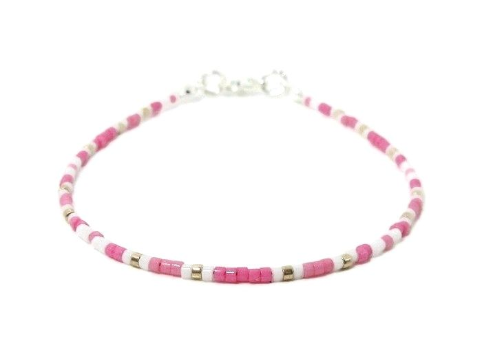 Tiny Pink & White Seed Bead Stacking Bracelet