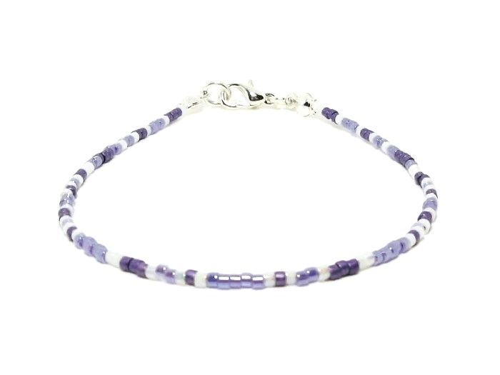 Tiny Purple & White Seed Bead Stacking Friendship Bracelet