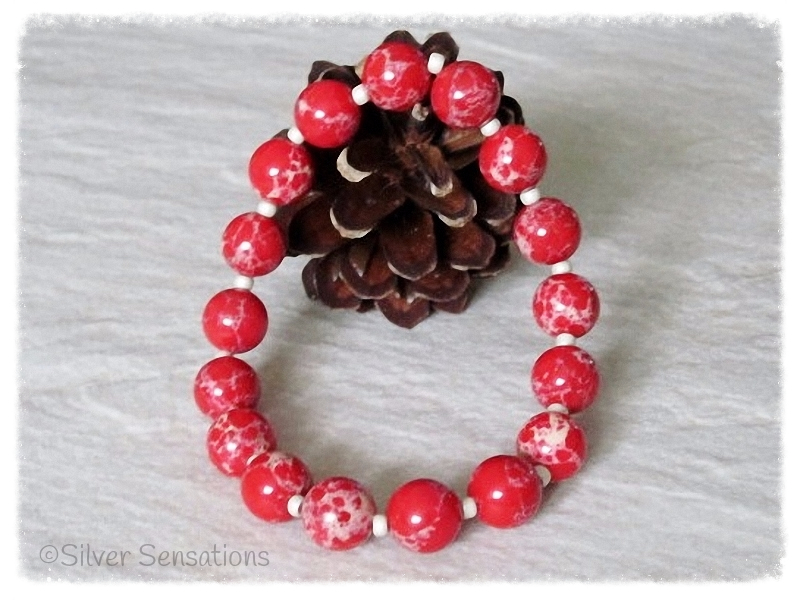 Tomato Red & Creamy Beige Sea Sediment Impression Jasper Stretch Bracelet