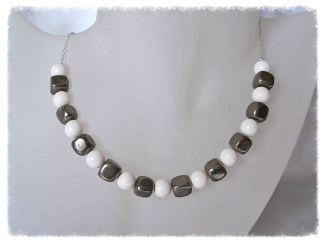 Tumbled Khaki Pyrite Square Cubes, Ivory Swarovski Pearls & Sterling Silver Curb Chain Necklace