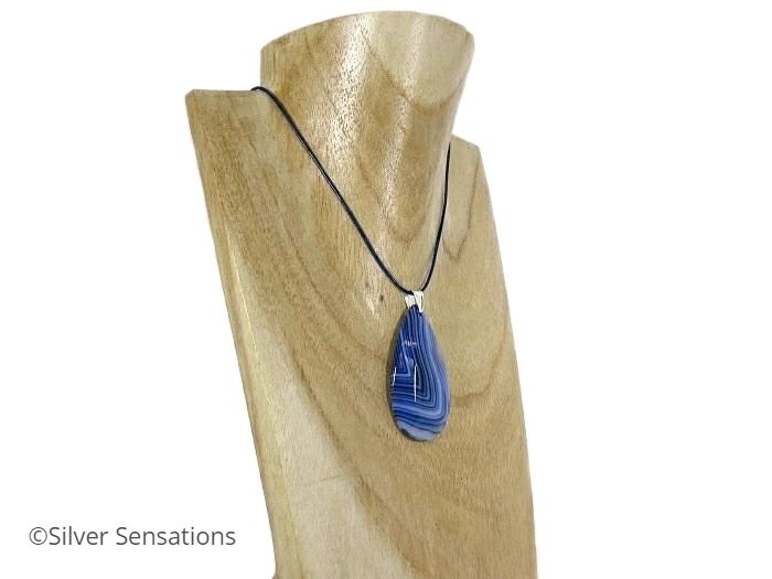 Unique Banded Blue Agate Teardrop Pendant Necklace