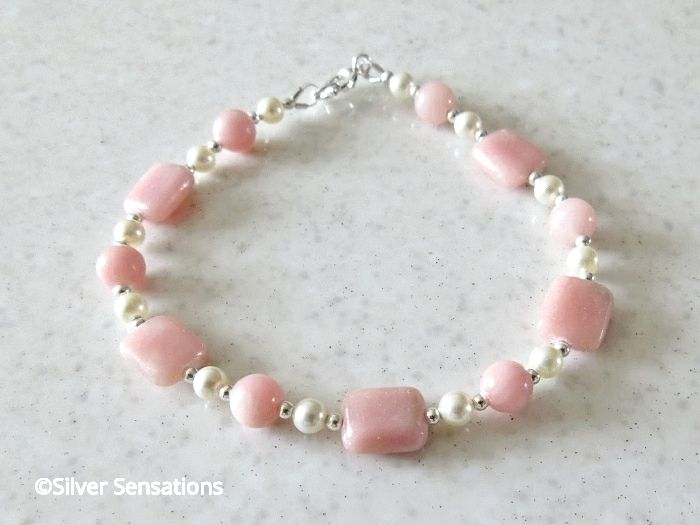 Unique Pink Morganite Oblongs Bracelet With Ivory Swarovski Pearls