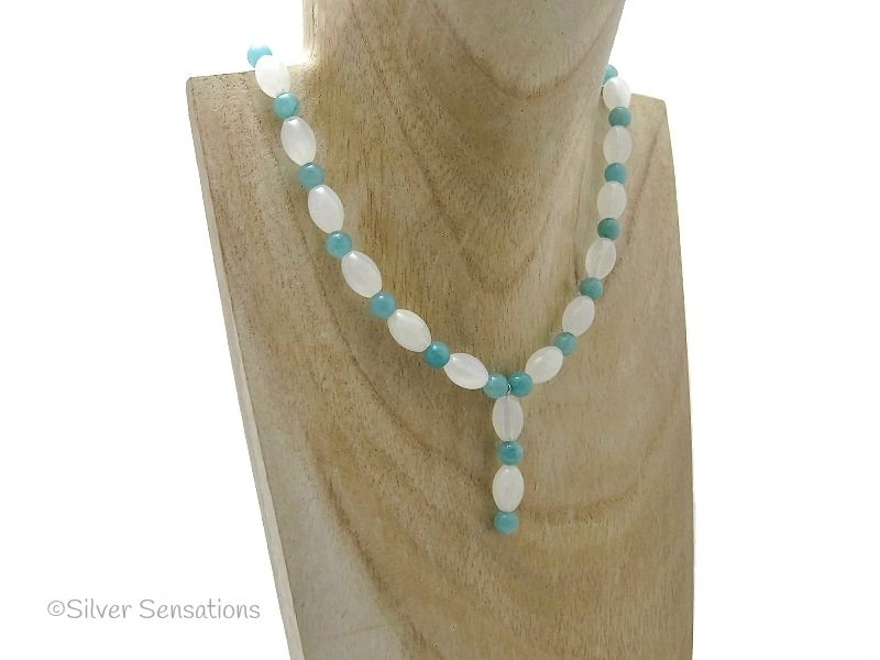 White Bowenite Jade & Green Amazonite Drop Necklace With Sterling Silver