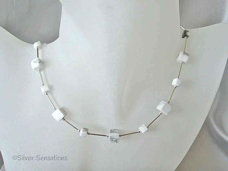 White & Grey Turquoise (Howlite) Square Cubes & Sterling Silver Tubes Necklace