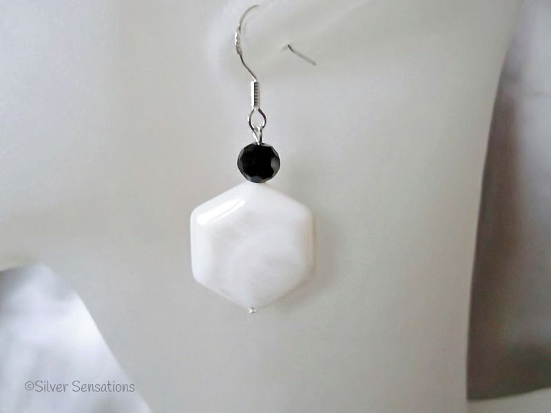 White Hexagonal River Shell & Faceted Black Crystal Sterling Silver Earrings