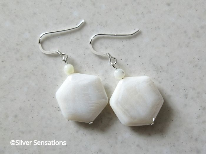 White Hexagonal River Shell & Mother of Pearl Sterling Silver Earrings