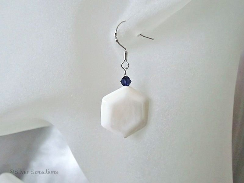 White Hexagonal River Shell & Purple Swarovski Crystal Sterling Silver Earrings