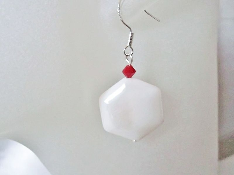 White Hexagonal River Shell & Red Swarovski Crystal Sterling Silver Earrings