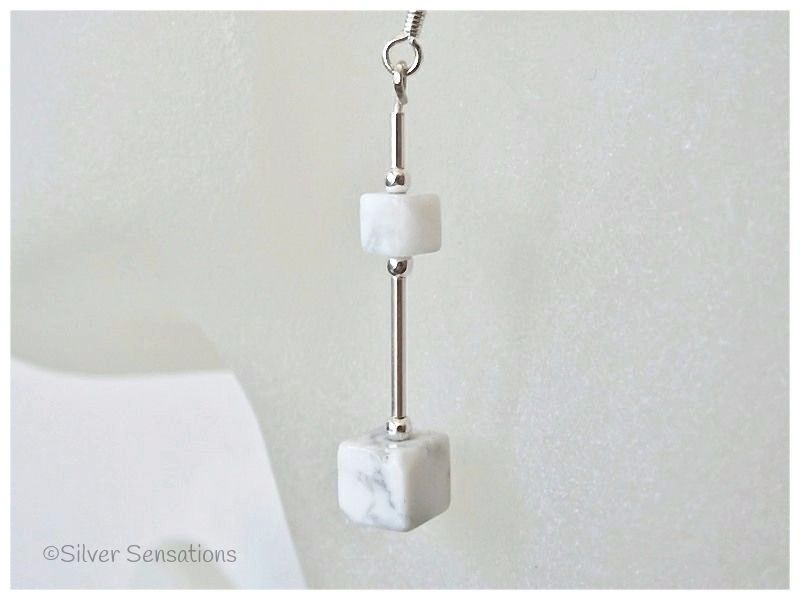 White (Howlite) Square Cubes & Sterling Silver Earrings