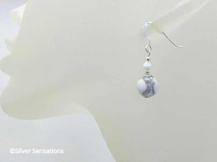 White & Pastel Grey Howlite Beaded Sterling Silver Earrings With Swarovski Crystals