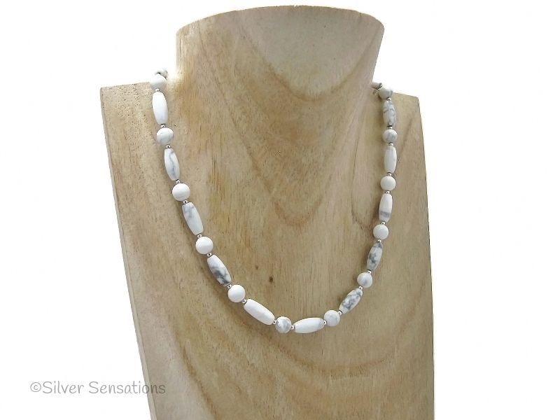 White & Pastel Grey Howlite Beaded Sterling Silver Necklace | Silver Sensations