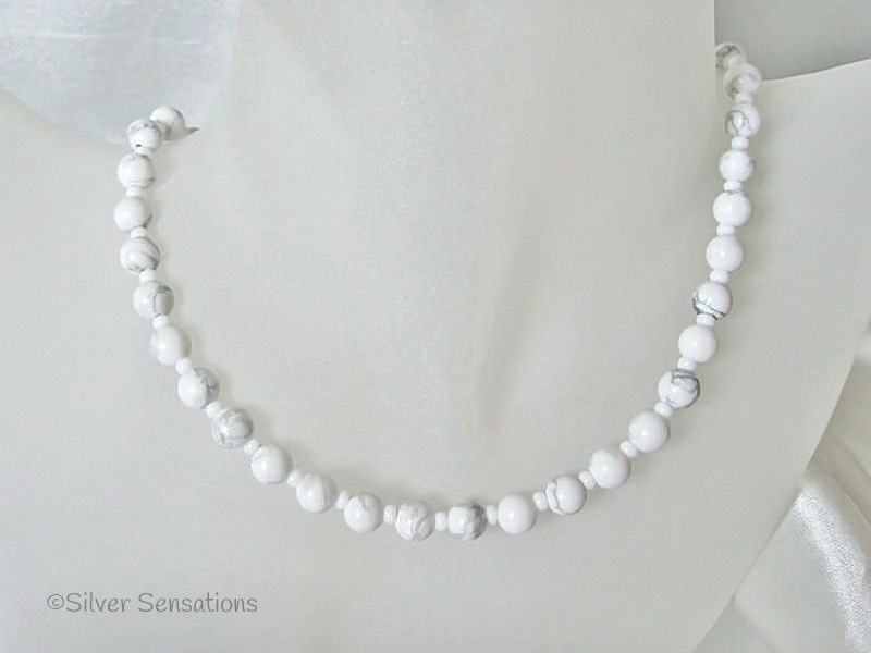 White & Pastel Grey Turquoise (Howlite) Round Bead Necklace