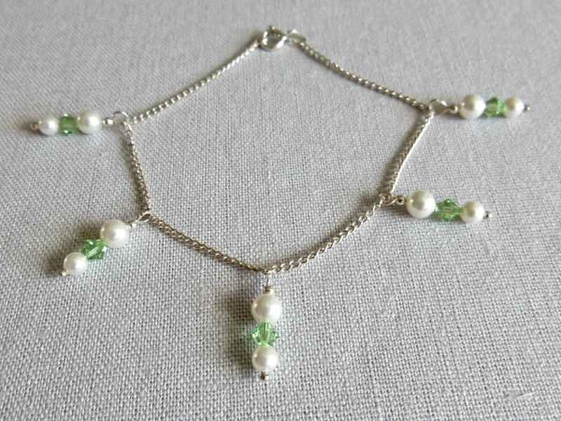 White & Peridot Green Swarovski Pearls & Crystals Sterling Silver Chain Bracelet