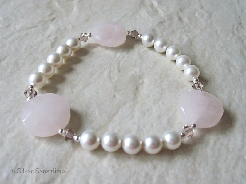 White Swarovski Pearl Bracelet With Faceted Rose Quartz Coin Beads & Sterling Silver