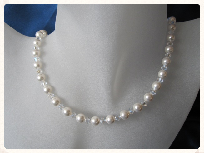 White Swarovski Pearls, Crystals & Sterling Silver Wedding Necklace