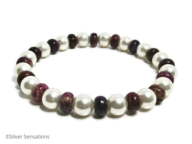 White Swarovski Pearls & Purple Sea Sediment Impression Jasper Bracelet