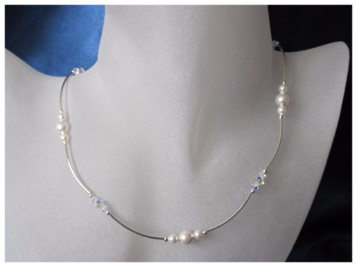 White Swarovski Pearls, Rainbow Crystals & Sterling Silver Curves Wedding Necklace