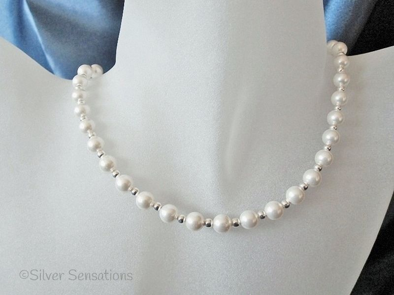 White Swarovski Pearls & Sterling Silver Beads Bridal Necklace | Silver Sensations