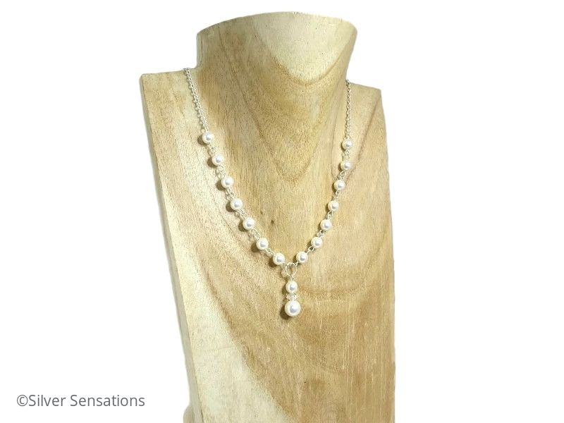 White Swarovski Pearls & Sterling Silver Chain Drop Wedding Necklace