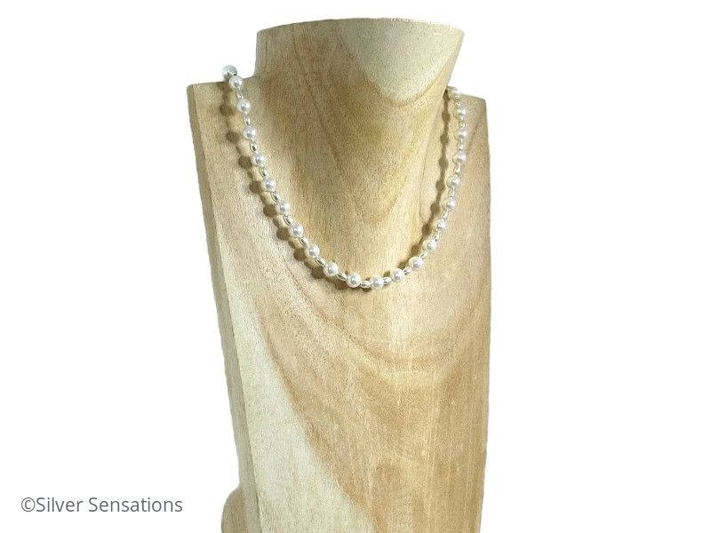 White Swarovski Pearls & Sterling Silver Oval Beads Bridal Necklace